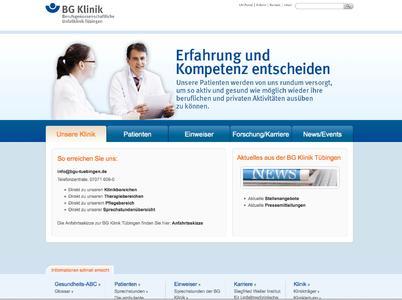Neue Startseite der BG Klinik Tübingen