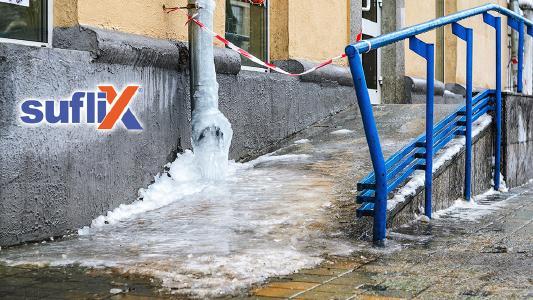 Gefrorene Dachrinnen & Fallrohre in der kalten Jahreszeit können der Vergangenheit angehören, durch den idealen Frostschutz von Suflix.de!