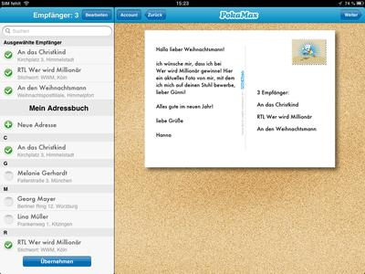 Die PokaMax iPad App ermöglicht den Versand von Karten an mehrere Personen gleichzeitig
