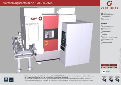 Auszug Interaktive Touchscreen-Präsentation, Fma. KAPP-NILES (Interaktive 3D-PDF Produktpräsentation Verzahnungszentrum KX 100 DYNAMIC)
