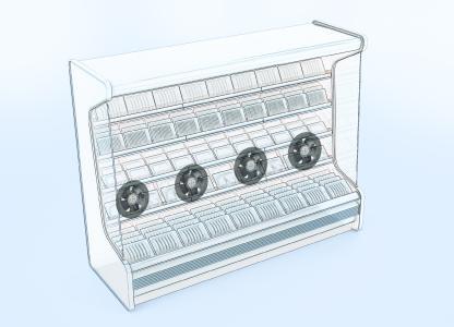 Die Einbausituationen für den Einbau in der Rückwand von Kühlregalen sind oft sehr beengt. Mit seiner flachen Bauweise passt der Diagonalventilator optimal in den schmalen Zwischenraum