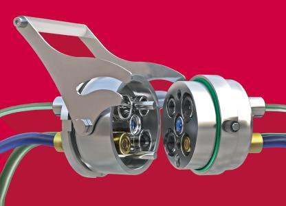 Der praktische Verriegelungsbügel macht das Kuppeln und Entkuppeln der Mehrfachkupplung MULTILINE E von Eisele in wenigen Sekunden möglich