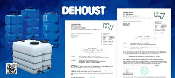Die Prüfzeugnisse des Hygieneinstituts Gelsenkirchen erweitern die Einsatzmöglichkeiten der Dehoust Lagerbehälter und bieten dem Planer und Installateur mehr Sicherheit. Dehoust liefert die Lagerbehälter in Standardausführung, in kundenspezifischen Ausführungen und als Bestandteil von Trinkwassertrennstationen entsprechend DIN EN1717. Mehr über die PE-Lagerbehälter finden Sie im Dehoust Web unter Webcode 4100