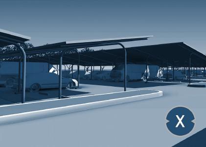 Solarcarport: Solare Parkplatzüberdachung – Bild: Xpert.Digital / Jinda.design|Shutterstock.com