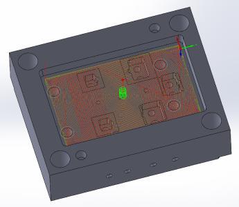 Werkstück mit Werkzeugwegen, erzeugt in i-Machining