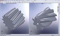 Links: auf Basis der Berechnung direkt im SolidWorks erzeugtes Stirnrad, Rechts: linkes Stirnrad automatisch an modifizierte Berechnung angepasst