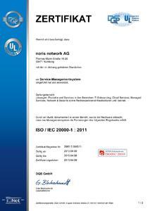 ISO/IEC-20000-Zertifikat, Bildquelle: noris network
