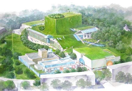 Die Oper und Philharmonie erhebt sich aus der umliegenden grünen Landschaft – so die Vision der Architekten Budzyński, Badowski und Ilmużyńska (Quelle Budzyński, Badowski, Kowalewski)