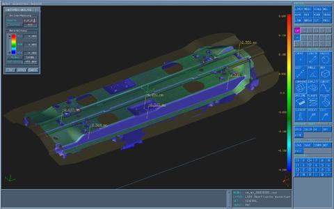 Abweichungen zu den CAD-Daten an diesem Umformwerkzeug sind bereits während des Scannens erkennbar