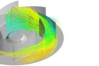 Elektror Stromlinien eines Schaufelkanals