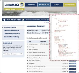 Integrierter Dokumentenzugriff aus EMA® per SMART API/SDK (fiktives Schadensmeldungsportal einer Versicherung)