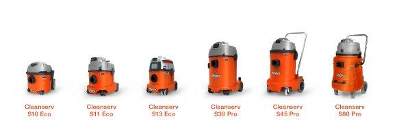 Die sechs Modelle aus dem neuen Cleanserv Sauger-Programm ermöglichen staubfreie Schmutzentsorgung durch den Einsatz verschließbarer Vliesfiltertüten.