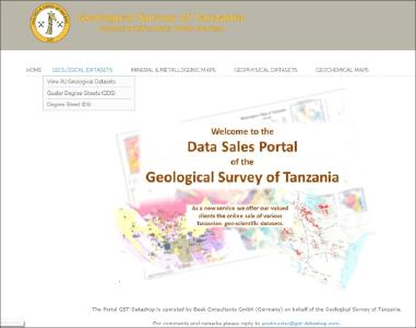Figure: advangeo® eCommerce, customized for the Geological Survey of Tanzania