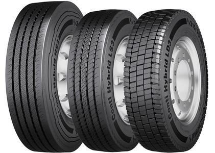 Die neuen Conti Hybrid Reifen für den gemischten Einsatz: Der Lenkachsreifen Conti Hybrid HS3 315/80 R 22.5 für schwere Lkw sowie die Lenk- und Antriebsachsreifen Conti Hybrid HS3 und Conti Hybrid HD3 215/75 R 17.5 für leichte Lkw