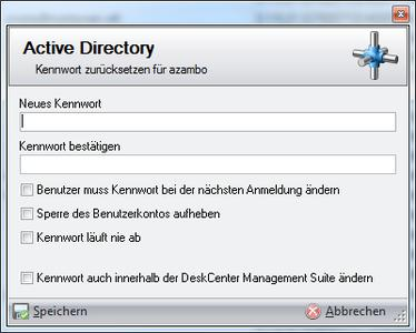 Auch typische Benutzerserviceanforderungen wie Kennwortänderungen können nun direkt in DeskCenter® für das Active Directory erfolgen.