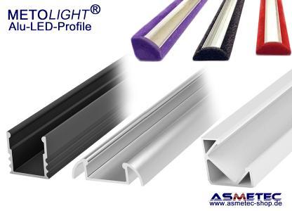 Metolight LED Alu-Profile sind in Alu, Weiß, Schwarz und in jeder anderen RAL-Farbe erhältlich.
