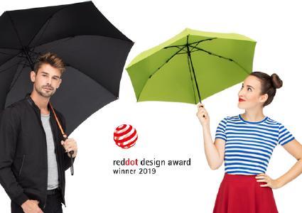 Sowohl der ultraleichte Mini-Taschenschirm FiligRain Only95 als auch der edle AC-Alu-Gästeschirm FARE®-Precious wurde im Red Dot Award: Product Design 2019 ausgezeichnet. Beide Schirme erhielten den Red Dot, den die renommierte Jury nur an Produkte vergibt, die eine hervorragende Gestaltung aufweisen