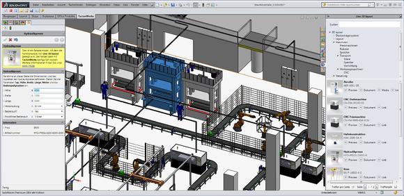 Eine mit Lino 3D layout erstellte Musteranlage – links der Konfigurationsdialog und rechts die Bibliothek mit Vorschaubereich. Foto: Lino GmbH