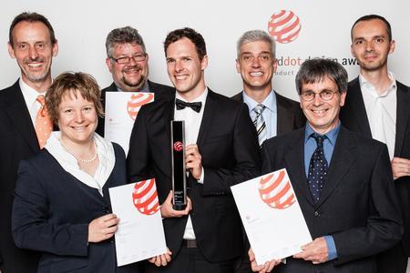 The team is happy about the award. From left to right: Michael Streck,  Karoline von Häfen, Michael Sonn, Jörg Peschel, Dieter Ade, Ulrich Diener and Matthias Wunderling.
