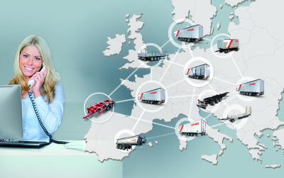 Collage: Europakarte (südwest europa) + Kögel Auflieger + Symbole für Händler & Service
