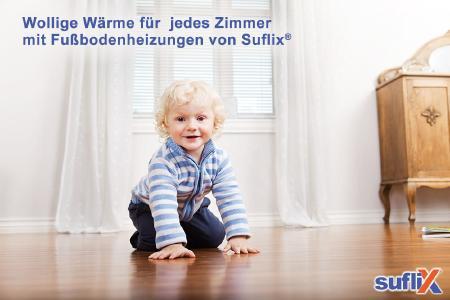 Fußbodenheizungen von Suflix bringen behagliche wollige Wärme in jedes Zimmer - ob rein Elektrisch, mit Wasser oder in Kombination aus Wasser & Elektro !