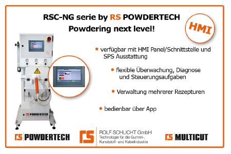 RSC-NG Bepuderungsmaschine mit HMI-Panel
