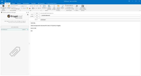 Versand einer Datei mit großem Anhang mit Cryptshare for Outlook 2016