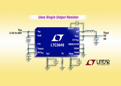 60V, 4A Synchronous Step-Down Regulator with Adjustable Rail-to-Rail Output & Wire Drop Compensation
