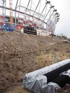 Drainfix Twin-Versickerungselemente beim Bau im Stadion in Warschau, Copyright: Hauraton