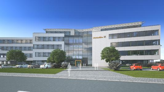 Vorderansicht des von Weidmüller geplanten neuen Customer & Technology Centers in Detmold