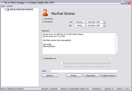 Screenshot Out of Office Manager 3