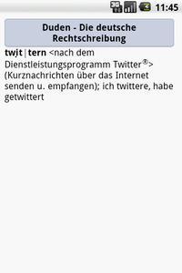 """Der Eintrag """"twittern"""" im Rechschreibduden für Android"""