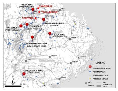 Die Mineralkonzessionen von District Metals im Bergbaugebiet Bergslagen