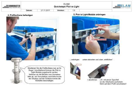 Auszug aus der Quickstep-Anleitung Pick to Light.