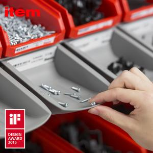 The stacking edge ensures that, when small parts are removed from the semi-open fronted boxes, they drop safely into the Grab Containers