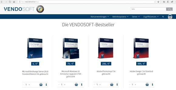 Der neue VENDOSOFT-Online-Shop lockt mit Angeboten und hohen Einsparungen beim Kauf gebrauchter Software