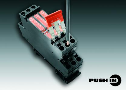 Weidmüller's TERMOPTO: PUSH IN connection technology and the pluggable cross-connectors reduce wiring times by >50%.