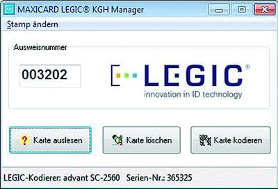 Screen LEGIC KGH ManagerPA