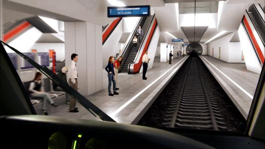 Visualisierung VE 30: Die Bahnsteige der neuen unterirdischen Station am Münchner Hauptbahnhof, Quelle: Deutsche Bahn AG / Fritz Stoiber Productions
