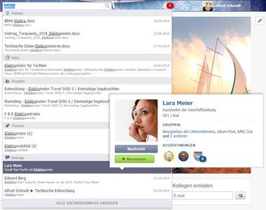 JaOffice Social Intranet Software - die Suche des Intranets arbeitet auch kontextbezogen und listet Experten, Dateien und Dokumente sowie relevante Arbeitsgruppen und Themen auf, damit Mitarbeiter alle relevanten Informationen auf einen Blick erhalten