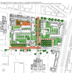 Gartenplan des Gesamtareals mit vielen begrünten Dächern und Terrassen, Quelle: Brümmendorf, Luz & Partner