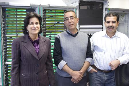 TV 2M attending the factory acceptance test at the Riedel headquarter in Wuppertal, Germany. S. Benlhabib (Chief Technical Service Studies), M. Falahi Ahmed (Chief 2M maintenance and support), M. Benddou Abderrahmane (Technical Chief of 2M Studios and OB Vans ) (from left to right)
