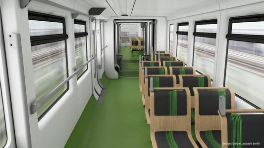Der Innenraum der neuen Schwebebahnzüge, Farbvariante grün