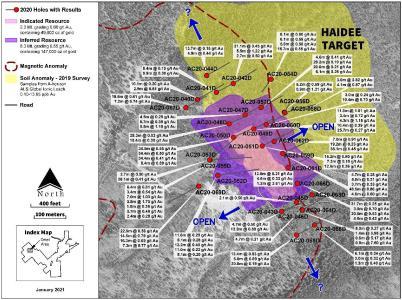 Figure 1: Haidee Target Area 2020 Drilling Program
