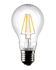: The light-emitting diodes arranged in rows resemble the filament of a traditional light bulb.