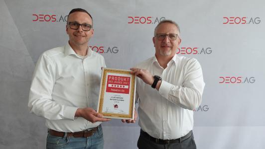 Bernhard Pieper, Marketingleiter und Thorsten Javernik, Leiter Geschäftsbereich BIT (beide DEOS AG) bei der Preisübergabe