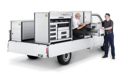 bottTainer in verschiedenen Ausführungen für Pritschenfahrzeuge, neu: mit je zwei Türen seitlich – wahlweise auch mit Schubladen.