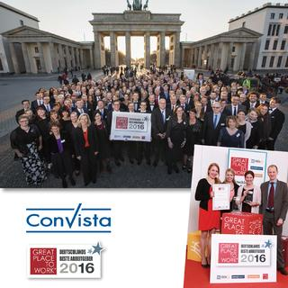 ConVista Consulting als «Great Place to Work®» und «Great Place to Work® ITK» 2016 ausgezeichnet
