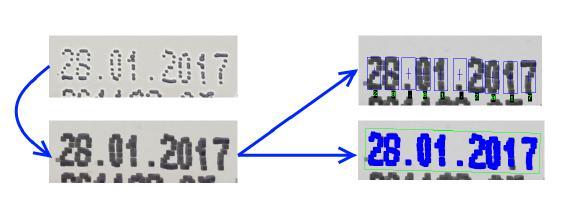 Abbildung 2: Das Eingangsbild wird durch eine Erosion (3x) vorverarbeitet, bevor Template Based oder Geometric OCR den Text dekodieren können