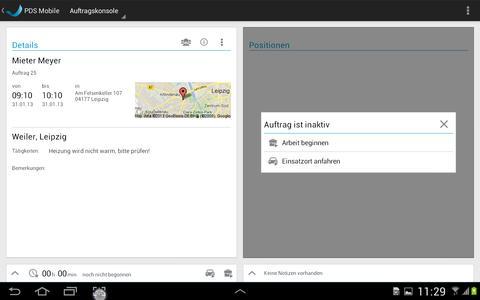 Screenshot PDS mobile Auftragskonsole